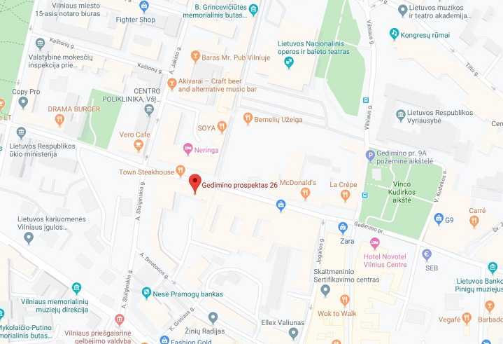 Ashtanga Yoga location in Vilnius on a map